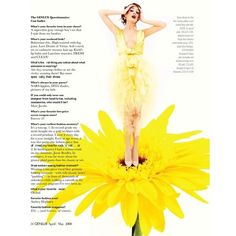 Genlux Editorial Flower Girl, Spring 2008 Shot #2 - MyFDB ❤ liked on Polyvore featuring backgrounds, text, yellow, people, words, magazine, editorial tear sheet, quotes, catt sadler and saying