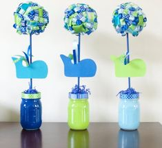 Nautical Whale Baby Shower Birthday Party Ribbon Topiary Centerpieces Set of Three Birthday Baby Shower Party Green Blue Whale Party Baby Shower Deco, Shower Party, Baby Shower Parties, Baby Shower Themes, Girl Shower, Baby Showers, Shower Ideas, Whale Birthday Parties, Boy First Birthday