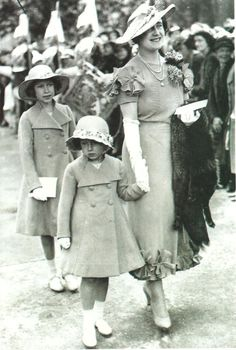 The Royal Watcher:  Queen Elizabeth (the Queen Mother) with Princesses Elizabeth and Margaret