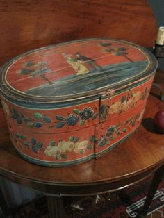 Antique Pennsylvania German Bride's Box Wooden Paint Decorated Late 1700's Early 1800s.  Signed ...~♥~