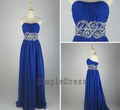 Real Beach Sweetheart Floor-length Chiffon Sashes Blue Long Prom/Evening/Party/Homecoming/Bridesmaid/Cocktail/Formal Dress 2013 New Arrival. $92.00, via Etsy.