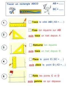 Tracer un rectangle College Math, Math Poster, Cycle 3, Multiplication, Math Lessons, Primary School, Physics, Back To School, Teacher