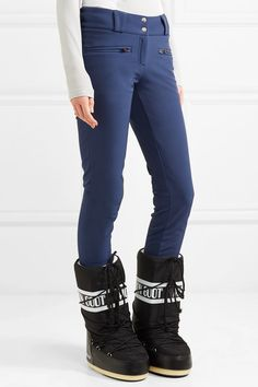 Navy stretch-softshell Snap and concealed zip fastening at front nylon, polyurethane; Skinny Ski Pants, Skinny Jeans, Moon Boots, Softshell, Athletic Wear, Sports Women, Skiing, Black Jeans, In This Moment
