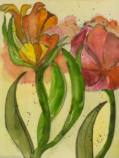 Original Watercolor and Charcoal by Susan Marie Fairclough, Reaching Up, Unmatted 12X16