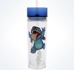 Disney Parks Stitch In A Bottle Tumbler With Straw Transclucent acrylic bottle allows you to see liquid contents Twist-tight lid Matching reusable straw flares at bottom so it won't fall out BPA free