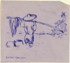 Chinese Fisherman Wading, Singapore, July 1944 (art) Made by: Searle, Ronald William Fordham 1944 image: A fisherman standing thigh-deep in water in the foreground, a fishing pole and net held over his shoulders. He wears a broad-brimmed straw hat, a shirt and rolled up trousers.