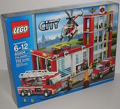 Lego City Fire Station 60004 w/Truck Helicopter Car Firehouse Dog - Box Marked