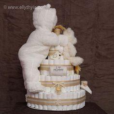 White Polar Bear and Baby Diaper Cake - Toronto Diaper Cakes and Baby Gifts Baby Shower Cakes, Fiesta Baby Shower, Baby Shower Diapers, Baby Shower Themes, Baby Boy Shower, Baby Shower Gifts, Baby Gifts, Shower Ideas, Baby Shower Centerpieces