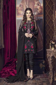 Buy Online Imrozia Premium Embroidered Chiffon Collection 2018 - AN Fabrics Pakistani Fashion Casual, Pakistani Dresses Casual, Pakistani Dress Design, Asian Fashion, Dress Casual, Style Fashion, Girls Party Wear, Party Wear Dresses, Dress Indian Style