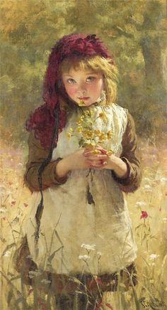 Eugenie  Marie  Salanson1836 Niña con flores