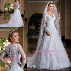 Modest Long Sleeve Wedding Dresses 2015 Sexy V Neck Plus Size A Line Court Train Sheer Lace Bridal Gowns with Button Back Noivas LT101 from Wholesalefactory,$166.13 | DHgate.com