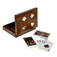Handmade Wooden Card Holder for Playing Cards - 2 Decks of Premium Quality Playing Cards - 6.3' x 4.7' x 1.5' >>> Visit the image link more details.