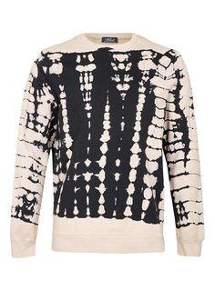 Stone/Black Tie Dye Sweatshirt - TOPMAN