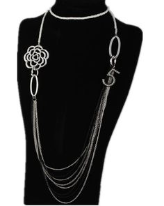 Chanel Camellia NO.5 Charms Silver Multi-Chains Pendant Necklace