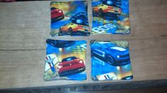 Ford Mustang large coasters - Set of 4 insulated, cotton fabric