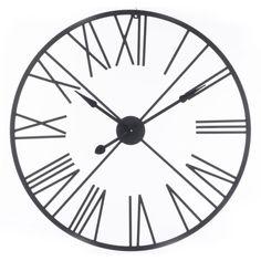 Horloge Horloge Ronde Chiffres Romains Métal 90 cm Noir Horloge Ronde Chiffres Romains Métal 90 cm Noir