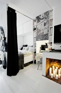 Love the curtain divider ♥ might use light see through in different room