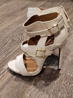 757954d0a5 White And Gold heels size 7.5 #fashion #clothing #shoes #accessories  #womensshoes