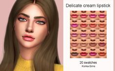 Delicate cream lipstick• 20 swatches• base game compatible• lipstick category• for female and male• toddler+Download