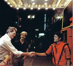 MJ and legendary actor Rock Hudson on the set of the Thriller video at the Palace Theatre in downtown Los Angeles October 1983