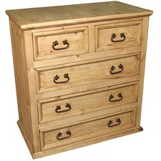 Rustic Pine 5 Drawer Dresser
