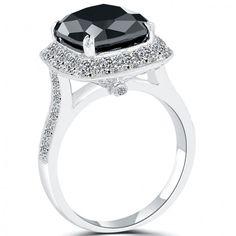 5.17 CT. Cushion Cut Black Diamond Engagement Ring 14k White Gold Vintage Style - Black Diamond Engagement Rings - Engagement