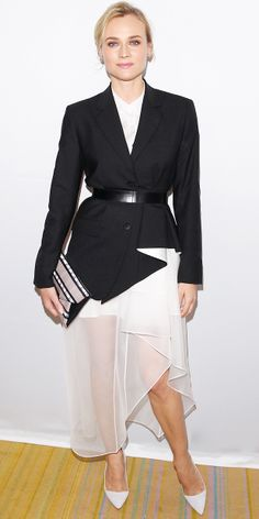 Diane Kruger sticks to black and white in a belted jacket look from Theory's F/W 14 collection.