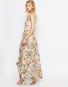 Image 4 ofTrue Decadence Petite Allover Embroidered Floral Maxi Dress