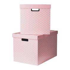 PINGLA Kannellinen laatikko - roosa, 56x37x36 cm  - IKEA