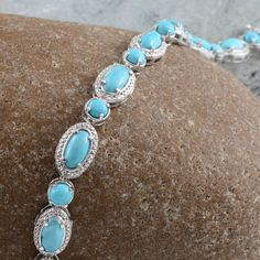 Arizona Sleeping Beauty Turquoise and Diamond Bracelet in Platinum Overlay Sterling Silver (Nickel Free)