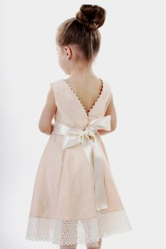 Free shipping/Flower girls dress pastel light peach triangle back linen lace spring summer birthday baby lace special occasion beach wedding on Etsy, $114.95 CAD