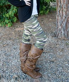 Just Couture Green & Brown Camo Leggings - cute, lightweight, stretchy leggings.