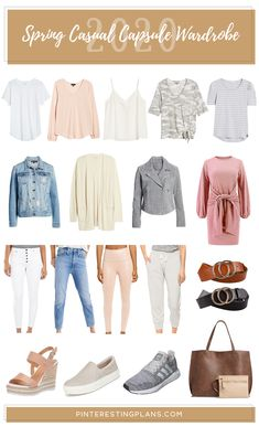 18 Piece Spring Casual Capsule Wardrobe Use this as a guide for creating a minimalistic spring casual wardrobe. This updated capsule has everything you need to start the season off with style! Capsule Wardrobe Work, Capsule Outfits, Fashion Capsule, Wardrobe Ideas, Outfit Essentials, Spring Fashion Trends, Outfit Combinations, Timeless Fashion, Spring Outfits