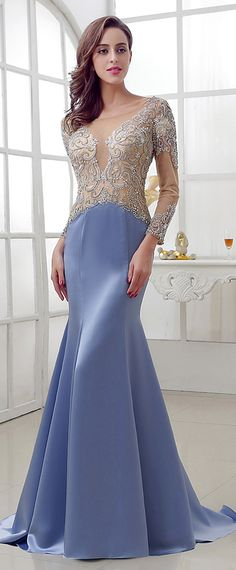 Marvelous Satin & Tulle Scoop Neckline Mermaid Evening Dresses With Beadings