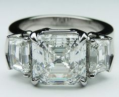 Engagement Ring - Large Asscher Cut Diamond Engagement Ring Cadillac Step cut Side Diamonds