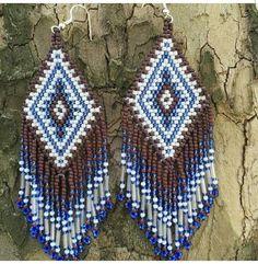 Earrings #beadwork Seed Bead Earrings, Beaded Earrings, Seed Beads, Crochet Earrings, Native Beadwork, Native American Beading, Beading Patterns, Handmade, Jewelry