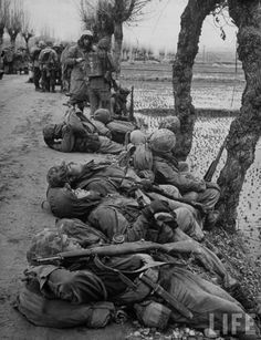 Marines taking some rest from front line in Korean War