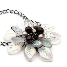 White Flower Necklace Beaded Necklace Pendant Necklace