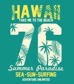 Hawaii typography with palms tree illustration for t-shirt print , vector illustration.