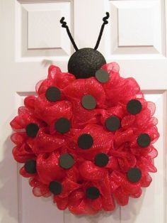 Lady Bug Deco Mesh Wreath via Etsy very beautiful this is one she made from jack. Lady Bug Deco Me Wreath Crafts, Diy Wreath, Wreath Ideas, Santa Wreath, Holiday Wreaths, Holiday Crafts, Ladybug Party, Ladybug Crafts, Deco Mesh Wreaths