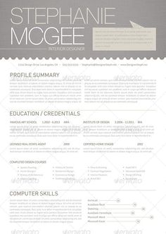 clean and modern interior designer resume