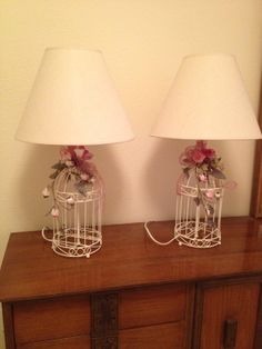 1970's set of bird cage lamps that both work.  (The dresser is a vintage 1960's Bassett Mayan collection which will be in a separate photo soon!)