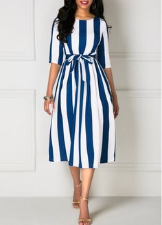 Belted Stripe Print Half Sleeve Dress | Rosewe.com - USD $32.64