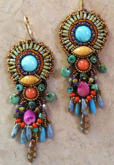 Bead Embroidered Earring ART by sherryserafini on Etsy