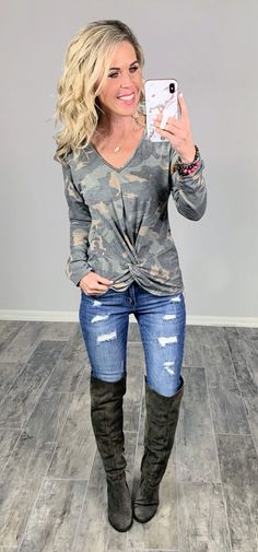 Affordable Stylish Camo Top Comfy and Easy for staying home or going out! #streetstyle #cozy #casualstyle #ootdfashion #style #ootd #fallfashion #flannel #blogger #travel #vacationstyle #fashionlover #fashionblogger #summerstyle #boutiquefashion #womensfashionoutfit #falloutfit #dress #layeringdress #casualstyle #casualfashion #joggers #comfyoutfit #kimono #springfashion #homefashion #summervibes #womensfashion #onlineshopping #onlineboutique Ootd Fashion, Fashion Boutique, Camo Top, Camo Outfits, Just Girly Things, Trendy Dresses, Comfortable Outfits, Unique Fashion, Skinny Jeans