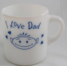 I Love Dad Coffee Mug White Milk Glass