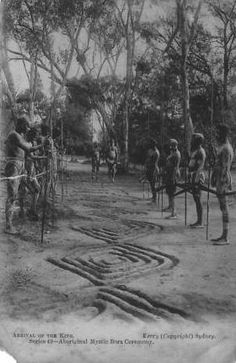 "1905 postcard labeled ""Bora Ceremony - Arrival of the King."" Patterns of the ground painting show the formal origins of Nyilyari Tjapangati's paintings Aboriginal Symbols, Aboriginal Culture, Aboriginal People, Aboriginal Art, Australian Aboriginal History, Australian Art, Australian Aboriginals, Ancient History, Art History"