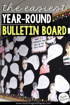 Essential Questions and the EASIEST year round bulletin board Community Bulletin Board, Elementary Bulletin Boards, Reading Bulletin Boards, Winter Bulletin Boards, Preschool Bulletin Boards, Elementary Library, Classroom Bulletin Boards, Classroom Community, Classroom Posters