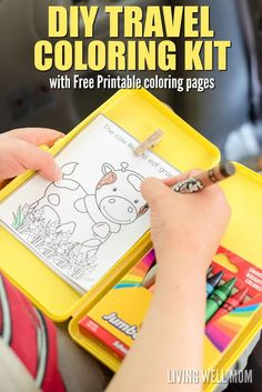 Keep your kids occupied on road trips with this easy-to-make DIY Travel Coloring Kit. It has everything kids need to color, including a clip for coloring pages and an attached crayon box so they're less likely to drop things. Plus free printable coloring pages - the perfect size for this kit! (sponsored)
