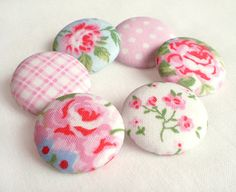 Fabric Buttons - Shabby Chic - 6 Medium Pink, Blue and White Floral and Gingham and Polka Dots Fabric Covered Buttons on Etsy, $5.00